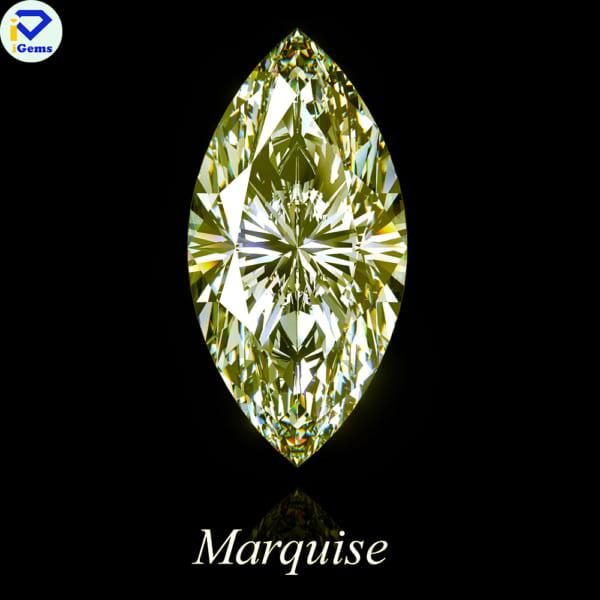Kim Cương Nhân Tạo Moissnaite Màu Vàng Giác Cắt Marquise