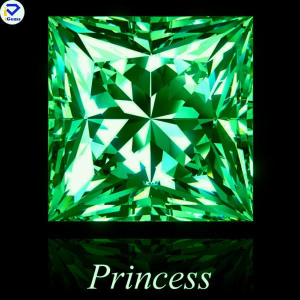 Kim Cương Moissanite Màu Xanh Lá Cut Princess