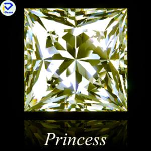 Kim Cương Moissanite Màu Vàng Giác Cắt Princess