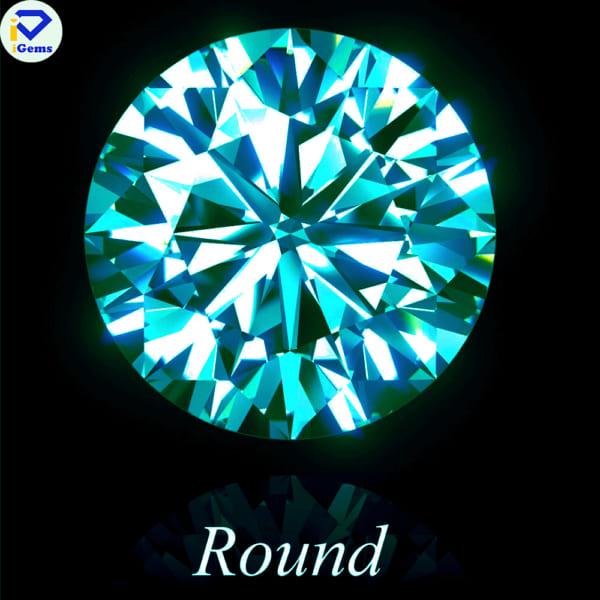 Kim Cương Nhân Tạo Màu xanh Dương hình tròn