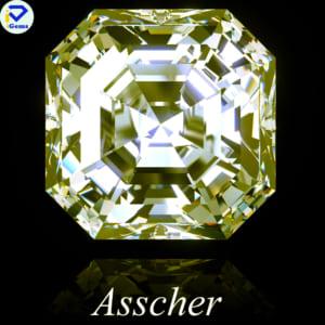 Kim Cương Nhân Tạo Màu Vàng Giác Cắt Asscher