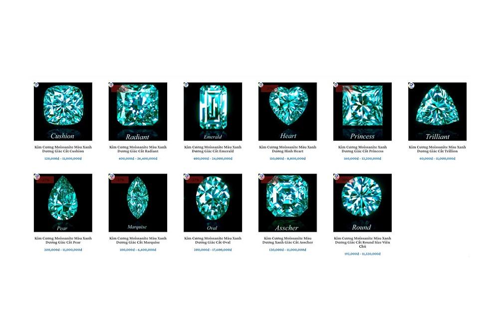 Các giác cắt kim cương Moissanite Xanh blue
